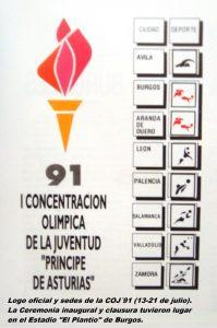 COJ´91.-Logo-oficial-y-sedes-Burgos-13-a-21-de-julio-1991.-199x300